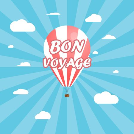 Bright banner, balloon on a background of cloudy sky. Traveling in a balloon, Bon voyage. Ilustração