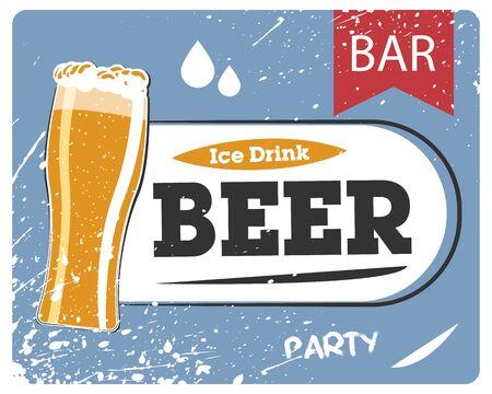 Signboard bar, cold beer. Ice beer, retro pub banner. Vector illustration of a vintage signboard. Ilustracja