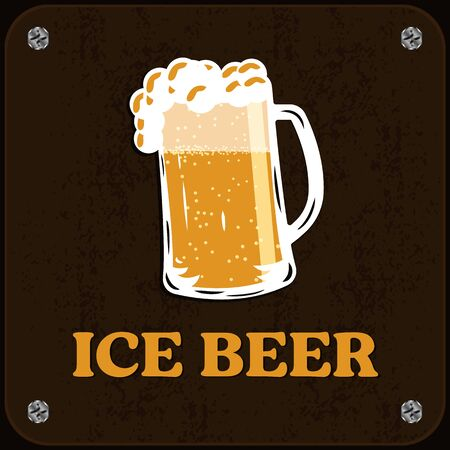 Wooden signboard of cold beer. Ice drink, foamy beer. Vector illustration, pub sign. 写真素材 - 129459522
