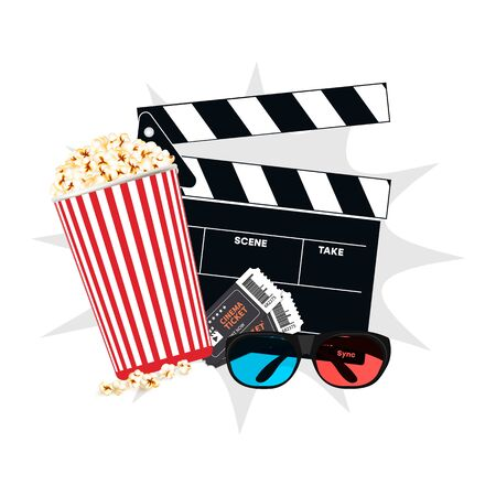 Realistic movie icon. Vector movie icon, clapperboard, 3D glasses, tickets.