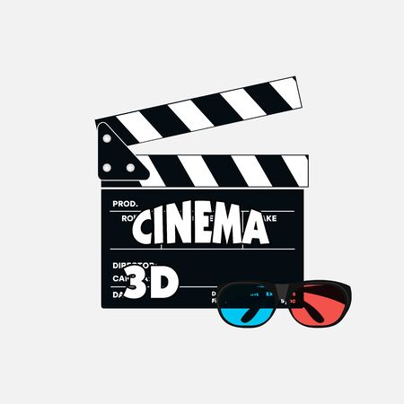 Clapperboard on a white background. 3D cinema, vector icon. 3D glasses with a board.