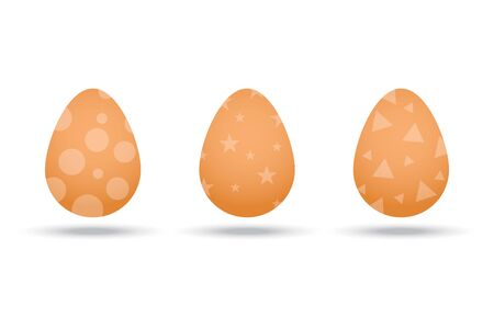 Realistic eggs with geometric patterns. Three eggs are brown. Chicken eggs for easter. Holiday boiled eggs. Ilustração