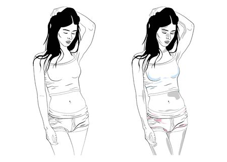 Drawn girl touches her hair. Pose of the girl. Vector illustration of a posing girl. The contour of a beautiful girl.