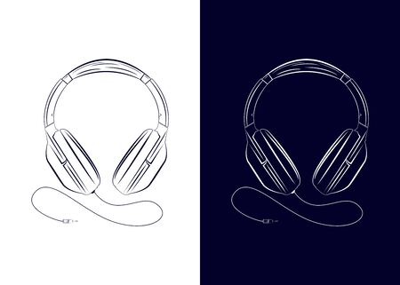 Vector drawing headphone. Equipment for listening to music. Headphones on two backgrounds. Ilustração