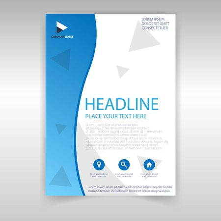 Cover design template in blue style. Vector corporate magazine cover.