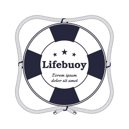 Round nautical lifebuoy with a rope in vintage style. Lifebuoy on a white background, clipart.