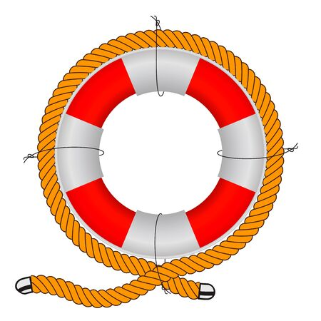 Vector illustration, lifebuoy on a white background. Realistic lifebuoy wrapped in durable rope. 일러스트