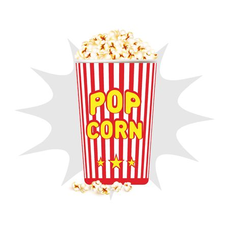 Realistic bucket with popcorn, vector illustration. Popcorn in a red bucket on a white background.