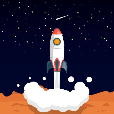 Space rocket takes off from the surface of the planet. The launch of a rocket into far space. Vector illustration in cartoon style. Ilustração
