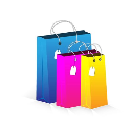 Vector shopping packages. Set of colored bags for goods. Multi-colored packages on a white background.