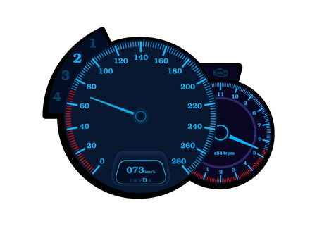 Car speedometer with tachometer. Speedometer with neon lights. Vector round speedometer isolated on a white background. Ilustração