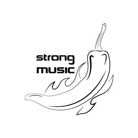 Vector illustration on a music theme. Burning pepper, strong music. Black print on a white background.