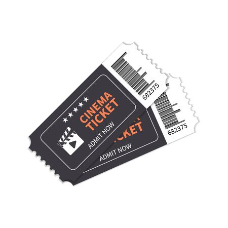 Cinema tickets for the show. Vector illustration, movie tickets. Two tickets on a white background.