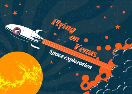 Space rocket flying to the planet Venus. Vector poster on the theme of space research. Space exploration, vintage banner.