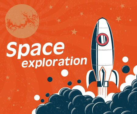 Bright banner on the theme of space research. Rocket taking off against the background of space. Space exploration, vintage poster. Ilustração