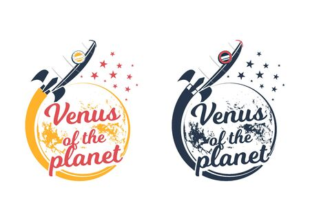 A space rocket flying around the planet Venus. Vector vintage emblem. Icon of a planet with a rocket. Ilustração