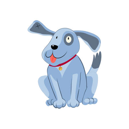 Vector illustration, funny doggie. The cartoon dog is smiling.