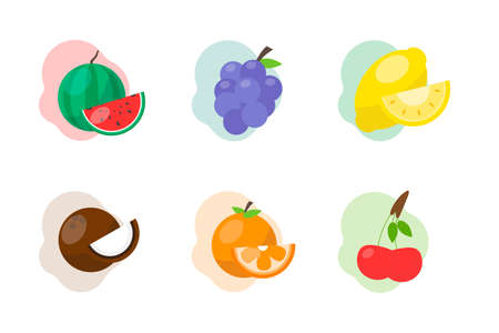 Vector fruit icons isolated on white background. Colored icons with citrus fruits.