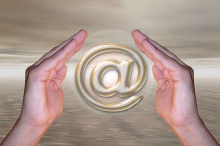 moody sky: The e-mail symbol inside two hands holding it with mood landscape background illustration