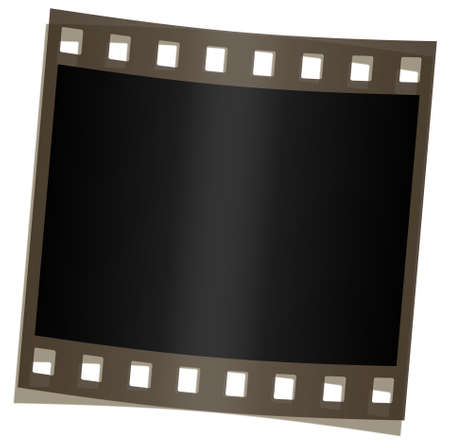 A filmstrip shape on a white background, isolated. Illustration
