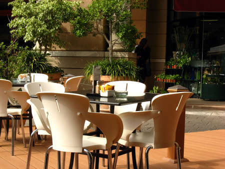 Tables and chairs outdoors at the cafeteria