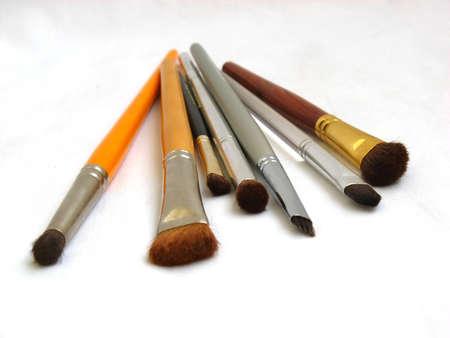 Professional make up brushes isolated on white background