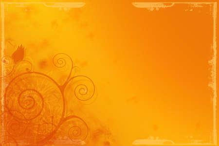 Orange colored grunge floral background illustration, design