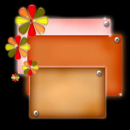 Floral colorful plates illustration on black background