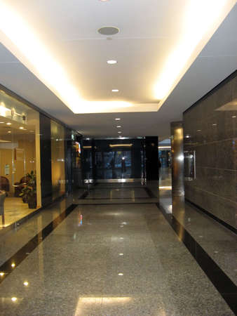 A trade building interior clean and shiny with marble floor Stock Photo