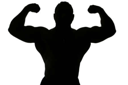 mascular: A body builder silhouette isolated on white background Stock Photo