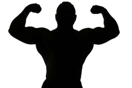 silueta masculina: Un organismo constructor silueta aislados sobre fondo blanco