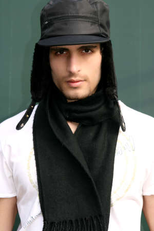 A young attractive man wearing a wool hat Stock Photo