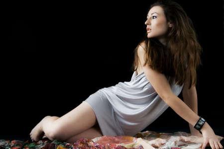 Beautiful young woman portrait in studio