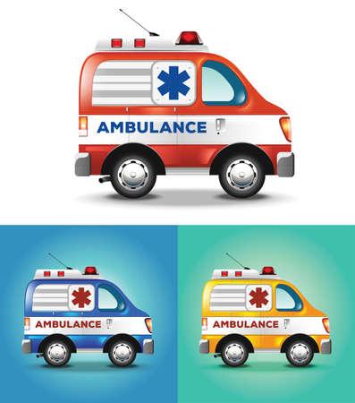 graphic illustration ambulance car blue orange yellow Illustration