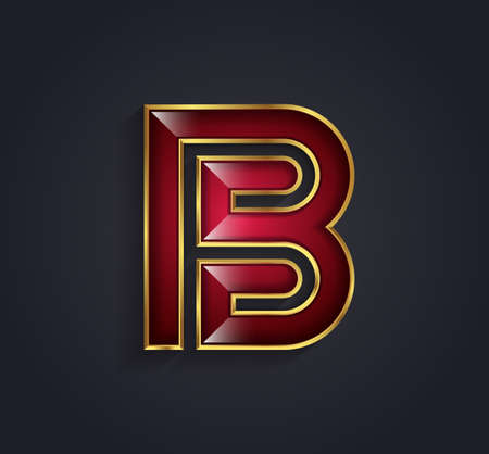 rim: Beautiful graphic ruby alphabet with gold rim  letter B  symbol