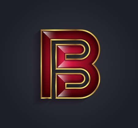 rim: Beautiful graphic ruby alphabet with gold rim  letter B  symbol