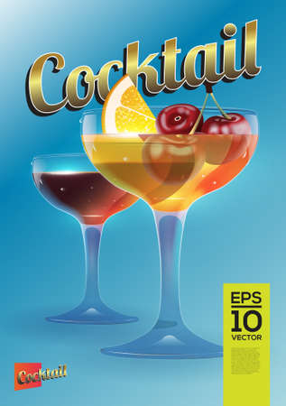 red wine glass: Beautiful vector graphic illustration of two colorful cocktail glasses with lemon and cherry grey background Illustration