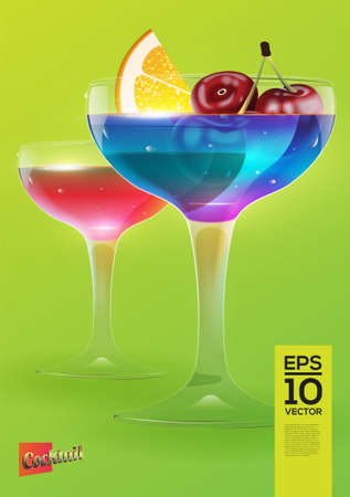 spearmint: Beautiful vector graphic illustration of two colorful cocktail glasses with lemon and cherry grey background Illustration