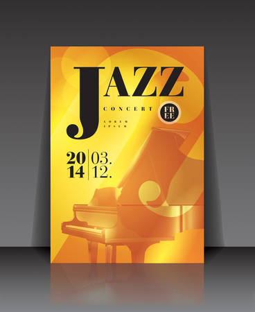 playing guitar: Vector graphic illustration jazz concert poster with piano in brown color