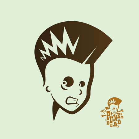 mohawk: Vector graphic illustration punk kids with sign Illustration