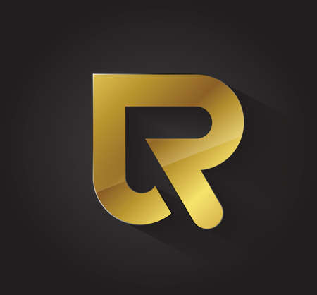 R: Vector graphic golden R letter symbol for your company with sample text