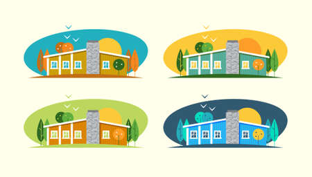 english village: Color vector flat set and illustrations urban and village landscapes with a house