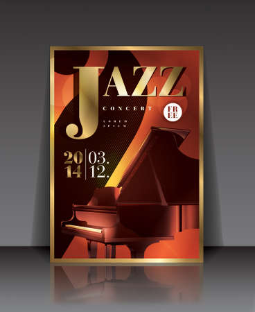 jazz club: Vector graphic illustration jazz concert poster with piano in brown color