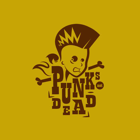 punk hair: Vector graphic illustration punk kids with sign Illustration