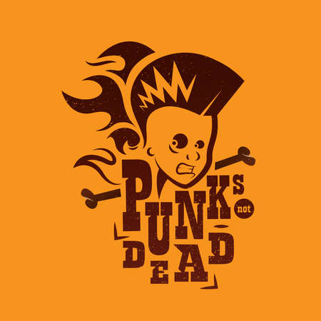 Vector graphic illustration punk kids with sign Vector