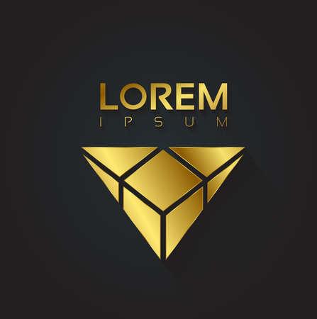 Golden vector graphic crystal symbol