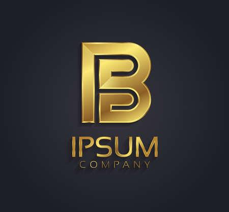 Beautiful vector graphic gold alphabet letter B symbol Illustration
