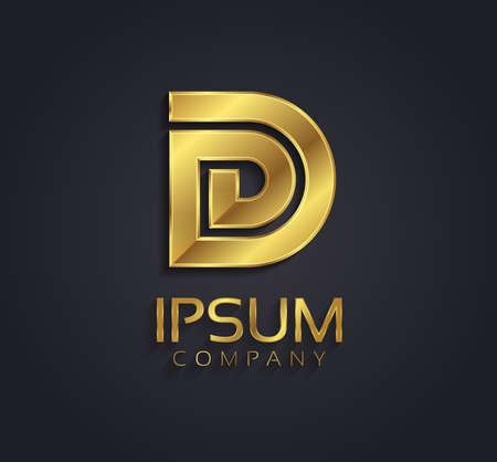 letter d: Beautiful vector graphic gold alphabet letter D symbol