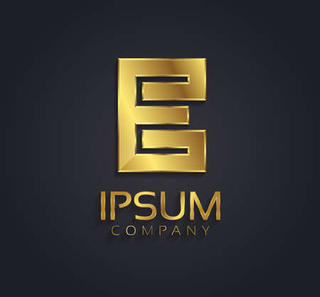 e alphabet: Beautiful vector graphic gold alphabet letter E symbol