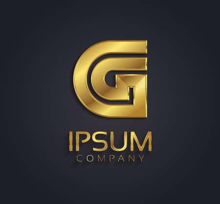 g alphabet: Beautiful vector graphic gold alphabet letter G symbol